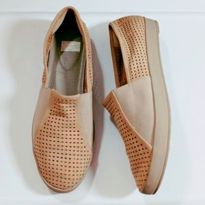 Eileen Fisher Suede Laser Cut Slip-On Shoes